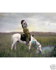 "CHIEF RED HAWK NATIVE AMERICAN OGLALA SIOUX 1905 8x10"" HAND COLOR TINTED PHOTO"