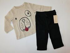NWT First Impressions Baby Boy 2Pc Set Puppy T-Shirt/Black Pants 3-6M 6-9M New