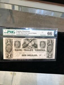 $1 1840's Virginia Bank of the Valley in Virginia Winchester Bank Note PMG66 EPQ