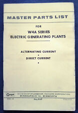 Onan Electric Generating Plants Model W4A Series Dealer Parts Catalog