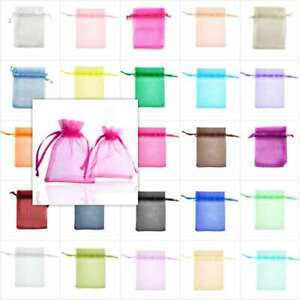 50/100/200/500 Organza Bags 11x16cm/13x18cm Gift Wedding Favor Jewelry Pouch BW
