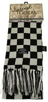 Tootal Vintage Silk Chequered Flag Scarf Black & White