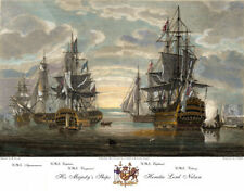 HMS Victory & Admiral Lord Horatio NELSON SHIPS color engraving print