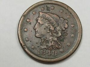 1848 US Braided Hair Large Cent Coin (VF w/ Damage).  #25