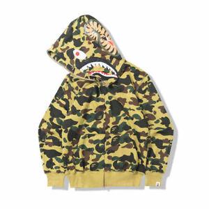 Men Shark Head Sweater Full Zip Camouflage Hoodie Jacket Coat