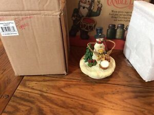 New with box Yankee Candle Snowman w Toys Jar Candle Topper 1238917
