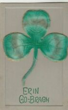 Big~Green Felt Shamrock~Erin Go Bragh~1910 ST PATRICKS DAY POSTCARD-unused-b376