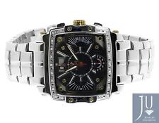 Mens White Aqua Master Joe Rodeo Jojo 42mm W#329 Steel Square Watch 0.24ct