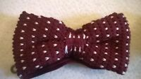 Bow Tie, burgundy white polka dot trendy vintage wool knitted style. Bowtie, NEW