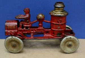 """Vintage Hubley Cast Iron Fire Pumper 7"""" Long 20s 30s Exc original"""