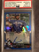2018 Bowman Chrome Richard Urena Toronto Rookie Auto Blue Ref PSA/DNA 9/10 POP 1