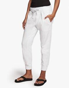 $245 James Perse Mixed Media Pull On Pants White Joggers 2/ M ASO Megan Markle