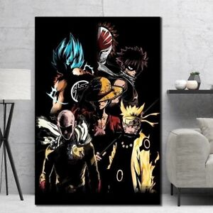 Japan Anime Cartoon Characters Poster Canvas Painting Goku Naruto Luffy limited