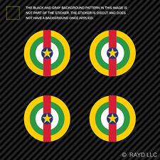 "(4x) 1.5"" Central African Republic Air Force Roundel Sticker Die Cut CAR CF CAF"