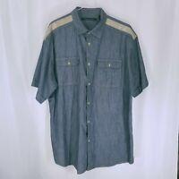 Sean John Mens Short Sleeve Button Down Casual Dress Navy Denim Shirt 2XL