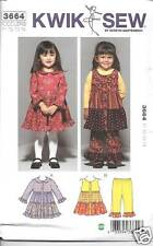 K3664 GIRLS/TODDLERS TIERED DRESS AND PANTS SIZES T1-T 4 KWIK SEW PATTERN 3664