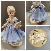 Beautiful Vintage Genuine Porcelain Lady with Fan Music Figurine