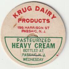 MILK BOTTLE CAP. KRUG DAIRY PRODUCTS. PASSAIC, NJ.