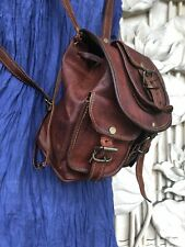 "13"" Vintage Women's Leather Laptop Deluxe Small Day Pack Backpack Rucksack Bag"