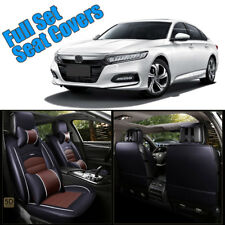 PU Leather 5-Seats Front & Rear Cushion W/pillows Car Full Cover Black & Brown
