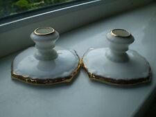 Royal Albert Candle Holders x 2 White & Gilt Bone China 1st Quality British