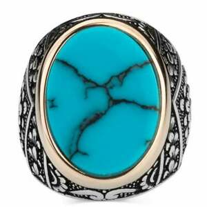 Natural Certified 6Cts Turquoise Gemstone 925 Sterling Silver Men Jewelry Ring