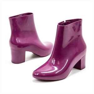 Women Rain Boots Fuchsia Pink Melissa Femme High Heel Fashion Rubber Boots NEW
