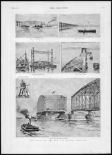 1887 Antiguo Print-Escocia Tay puente span Grúa Elevador Flotante (195)
