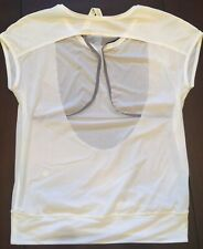 Lululemon EUC If You're Lucky SS Tee Pullover Size 4 White Mesh Yoga Open Back