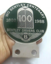 CAR BADGE 1BENTELY DRIVERS CLUB 100YEAR 1888-1988 CAR GRILL BADGE EMBLEM