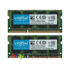 Crucial 8GB KIT 2X4GB PC3-10600S DDR3-1333Mhz 204Pin SO-DIMM Laptop Memory Ram