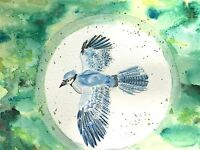 "Original Watercolor Painting ""Blue Jay"" 7x10 inch bird animal nature kids room"