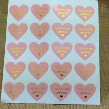 Stickers - Hand Made With Love - PINK HEART - Set of 50 - 3.2cm x 3cm