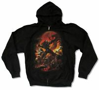 Rob Zombie Battle Black Zip Hoodie Sweatshirt New Official White