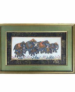 "Bohemian Indian Elephant Tapestry Matte Framed Art 17""x11"" Boho Elephant Decor"