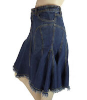 Blue Asphalt Jeans Flared Denim Skirt 9 Junior High Low Hem Fringe Rhinestones
