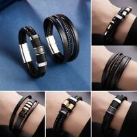 Fashion Men Leather Bangle Cuff Braided Bracelet Magnetic Buckle Clasp Black