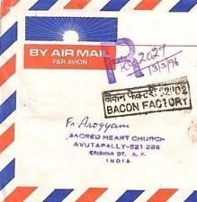 India *BACON FACTORY* Registered AVUTAPALY CHURCH Cover MIVA Austria 1996 CF45