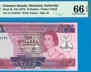 SOLOMON ISLANDS-10 $-1977-PREFIX A/1-S/N 824784-PICK 7b **PMG 66 EPQ GEM UNC**
