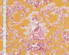 Orange pink toile de Jouy fabric French home decorating material BTY
