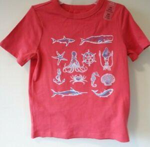 NWT Gap Kids Red Ocean Theme Cotton Knit Shirt Boy's Size XS 4/5