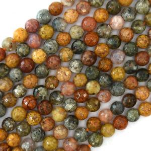 "6mm natural faceted ocean jasper round beads 15"" strand"