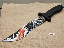 """13"""" Black CSGO Fixed Blade Hunting Knife Bowie Skull Reaper Combat Survival NEW"""