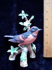 Vintage Danbury Mint Songbird Figurine Varied Thrush perched on tree branch