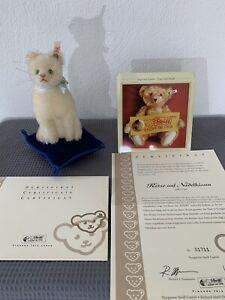 Steiff limitiert Katze auf Nadelkissen weiß 17cm 420535 Club Edition 2006