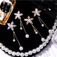 Fashion Women Crystal Flower Pearl Earrings Ear Stud Dangle Dangle Jewelry Dift
