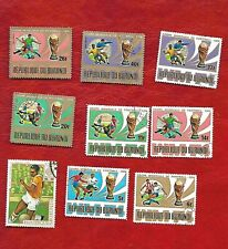 9 Burundi Football stamps 8 x World Cup 1974 World Cup, 1 x 1968 Olympic games