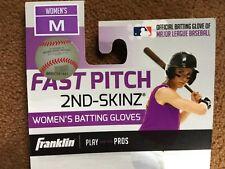 Franklin Womens Fast Pitch 2nd-Skinz Batting Gloves Black/Pink/White *Medium
