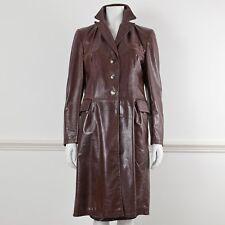 MARNI Brown Leather Long Sleeve Knee Length Jacket Coat It 42 UK 10