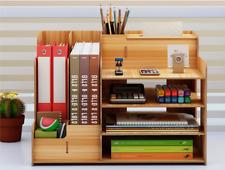 Desk Organizers Multifunction Wood Office Pen Pencil Holder Storage Desktop Tray